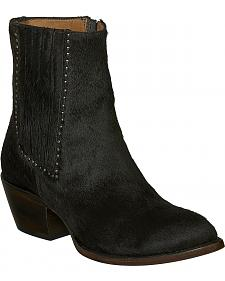 Lucchese Black Hair-On Calf Adele Cowgirl Booties - Pointed Toe