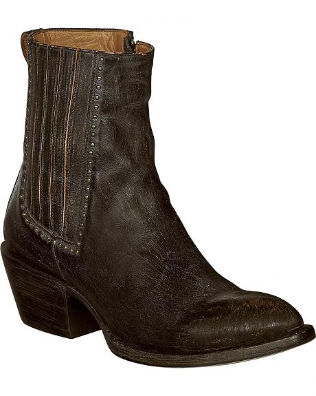 Lucchese Black Distressed Leather Adele Cowgirl Booties - Pointed Toe