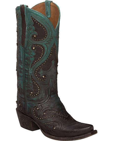Lucchese Aqua Ombre Gemma Cowgirl Boots - Snip Toe