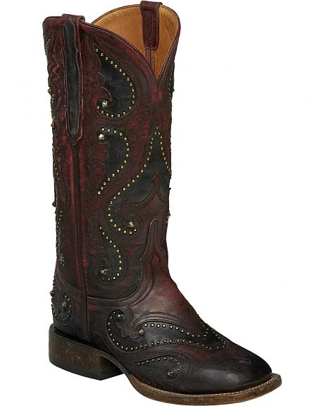 Lucchese Red Ombre Rita Cowgirl Boots - Square Toe