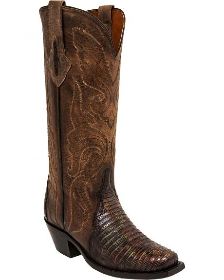 Lucchese Brown/Green Sasha Lizard Cowgirl Boots - Narrow Square Toe