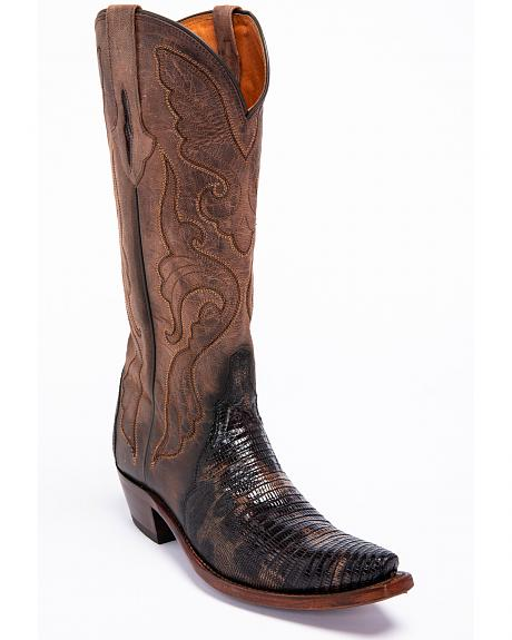 Lucchese Brown Sasha Lizard Cowgirl Boots - Narrow Square Toe