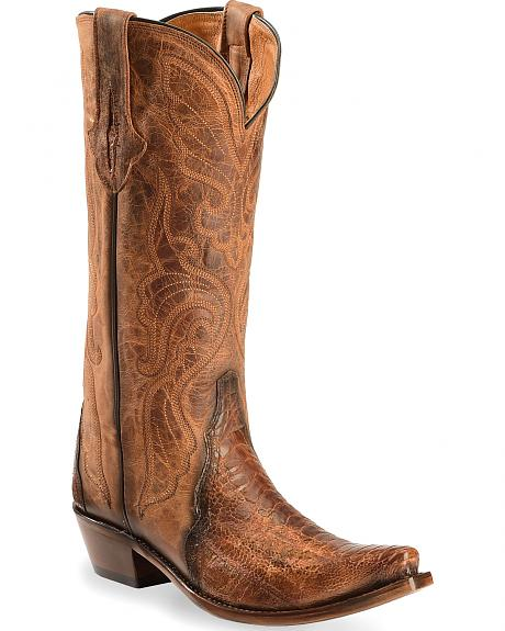 Lucchese Burnished Cognac Sasha Ostrich Leg Cowgirl Boots - Narrow Square Toe