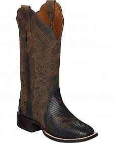 Lucchese Brown Marissa Lizard Cowgirl Boots - Square Toe
