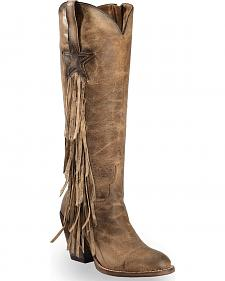 Lucchese Tan Lanie Tall Fringe Boots - Round Toe