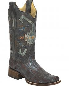 Corral Vintage Aztec Lizard Patchwork Cowgirl Boots - Square Toe