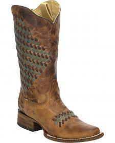 Corral Sand Color Woven Cowgirl Boots - Square Toe
