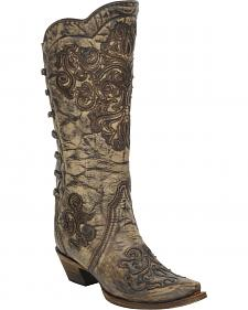 Coral Brown Scroll Inlay Backstrap Boots - Snip Toe