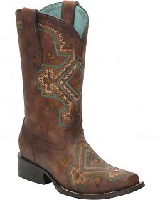 Corral Distressed Brown Studded Diamond Cowgirl Boots - Square Toe