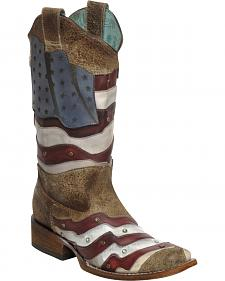 Corral Laser-Cut American Flag Stud Cowgirl Boots - Square Toe