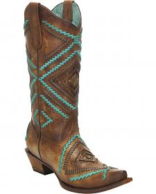 Corral Honey Embroidered Woven Cowgirl Boots - Snip Toe