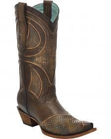 Corral Distressed Brown Laser-Cut Cowgirl Boots - Snip Toe