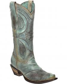 Corral Distressed Turquoise Laser-Cut Cowgirl Boots - Snip Toe