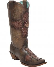 Corral Women's Sand Rose Laser-Cut Cowgirl Boots - Snip Toe