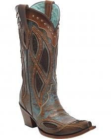 Corral Brown Gnarly Fish Studded Cowboy Boots - Snip Toe
