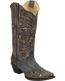 Corral Diamond Embroidered Cowgirl Boots - Snip Toe