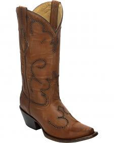 Corral Distressed Cognac Laser-Cut Cowgirl Boots - Snip Toe