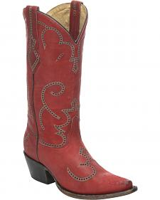 Corral Red Cowhide Cowgirl Boots - Snip Toe