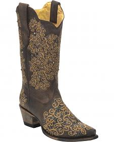 Corral Women's Brown Studded Embroidered Cowgirl Boots - Snip Toe