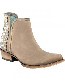 Corral Sand Women's Color Stitch Ankle Boots - Round Toe