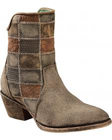 Corral Chocolate Patchwork Cowgirl Booties - Round Toe
