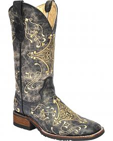 Corral Black Crackle Embroidered  Cowgirl Boots - Square Toe