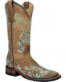 Corral Tan Dragonfly Cowgirl Boots - Square Toe