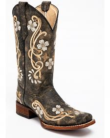 Corral Honey Cowhide Cowgirl Boots - Square Toe