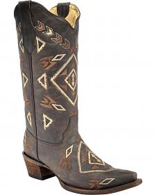 Corral Brown Aztec Cowgirl Boots - Snip Toe