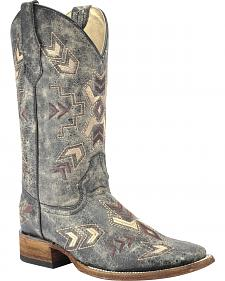 Corral Distressed Black Arrowhead Cowgirl Boots - Square Toe
