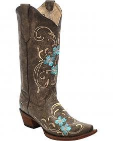 Corral Brown Cowhide Floral Cowgirl Boots - Snip Toe