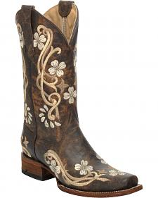 Corral Chedron Floral Embroidered Cowgirl Boots - Square Toe
