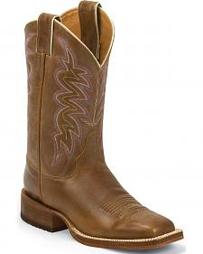 Justin Bent Rail Cognac Tan American Cowgirl Boots - Square Toe
