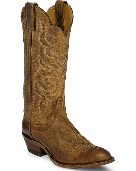 Justin Bent Rail Brown Tiger Eye Cowhide Cowgirl Boots - Round Toe