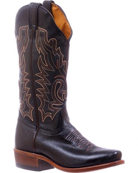 Boulet Black Cutter Cowgirl Boots - Square Toe