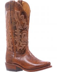 Boulet Brown Cutter Cowgirl Boots - Square Toe