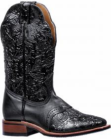 Boulet Black Torino Tooled Saddle Cowgirl Boots - Square Toe