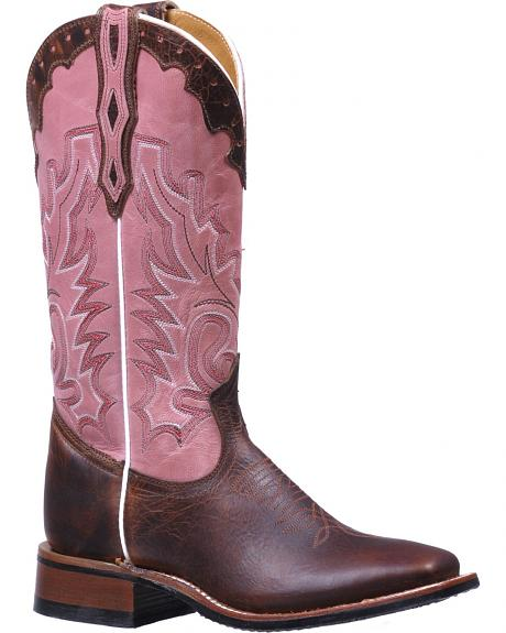 Boulet Brown and Pink Stockman Rider Cowgirl Boots - Square Toe