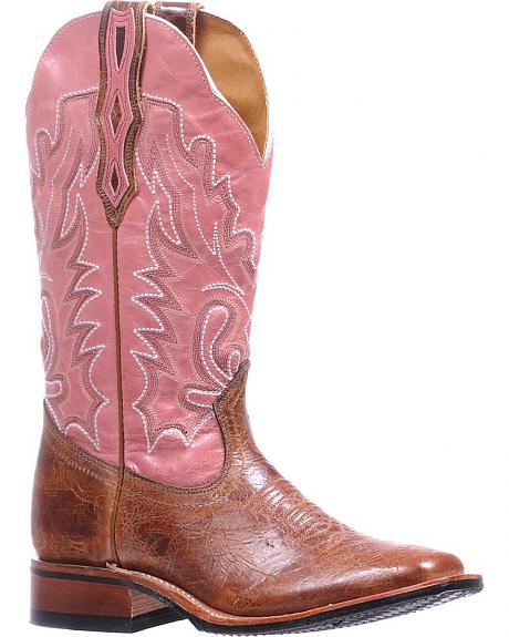 Boulet Pink Stockman Rider Cowgirl Boots - Square Toe
