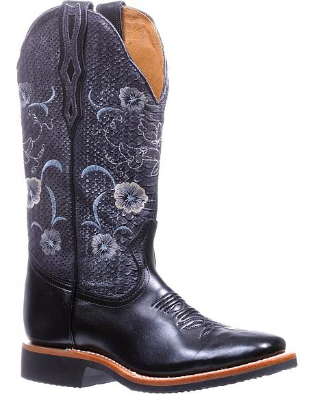 Boulet Torino Black Floral Extralight Cowgirl Boots - Square Toe