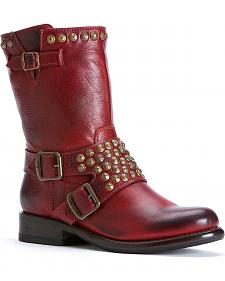 Frye Women's Jenna Studded Harness Short Boots - Round Toe