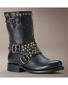 Frye Women's Jenna Studded Harness Short Boots - Round Toe