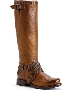 Frye Womens Jenna Studded Riding Boots - Round Toe