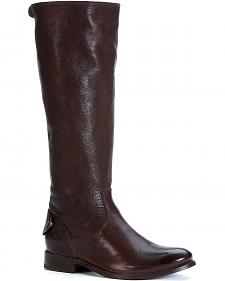 Frye Melissa Button Back Zipper Riding Boots - Round Toe