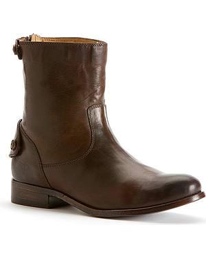 Frye Womens Melissa Button Zip Short Boots - Round Toe