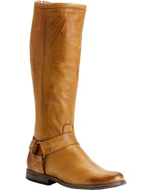 Frye Womens Phillip Harness Riding Boots - Round Toe