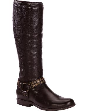 Frye Womens Phillip Studded Harness Riding Boots - Round Toe