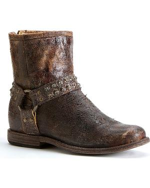 Frye Womens Phillip Studded Harness Boots - Round Toe