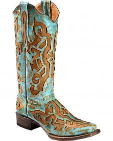 Tanner Mark Women's Fashion Crackled Turquoise Cross Cowgirl Boots - Square Toe