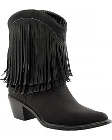 Roper Faux Leather Fringe Cowgirl Boots - Pointed Toe